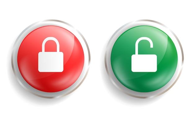 ベクトル南京錠のロックとロック解除のアイコン開いたシンボルバッジと閉じたシンボルバッジ光沢のあるガラスのボタンまたはエンブレム