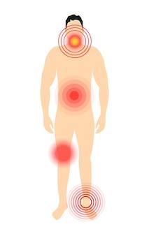 벡터 통증 대상은 빨간색 원을 다쳤습니다. 몸에 통증 마커입니다.