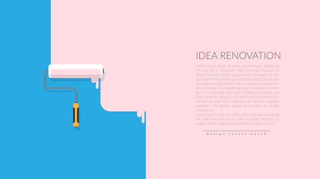 Vector of paint roller painting pink color on blue wall