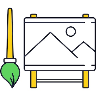 Векторная кисть и мольберт плоский значок дизайн