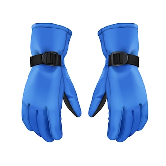 Coppia di vettore di guanti invernali sport caldi blu isolati su priorità bassa bianca