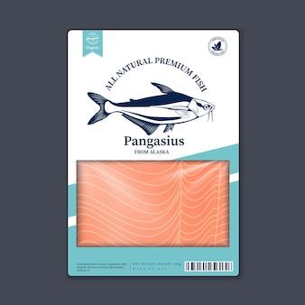 벡터 pangasius 평면 스타일 포장 디자인입니다. 포장, 수산업, 광고 등을 위한 판가시우스 삽화와 생선 고기 질감