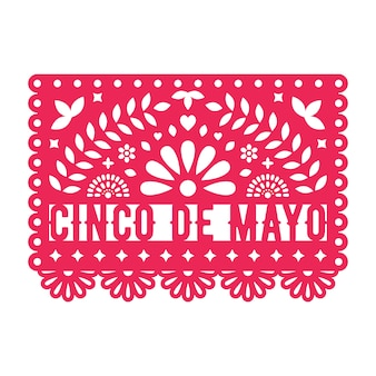 Vector papel picado greeting card. cinco de mayo.