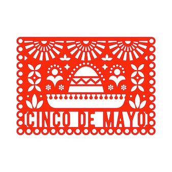 Vector papel picado greeting card for cinco de mayo.
