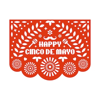 꽃 패턴 및 텍스트 벡터 papel picado 인사말 카드. 행복한 친코 데 마요네즈 종이 잘라 템플릿. 멕시코 종이 화환.