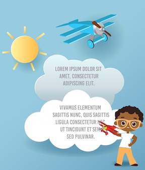 Vector paper art of cloud and plane flying in the sky. template advertising