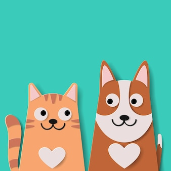 Vector paper art and landscape, digital craft style of funny cartoon cute dog and cat best friends