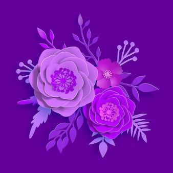Vector paper art, summer flowers on a proton purple background with leaves cut of paper. stock image illustration