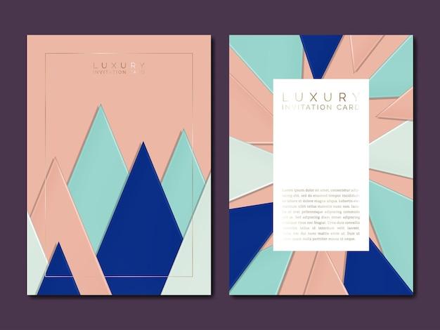 ジュエリーや高級ブランドの招待状やポスターの三角形のイラストを重ねるベクトル紙段ボール