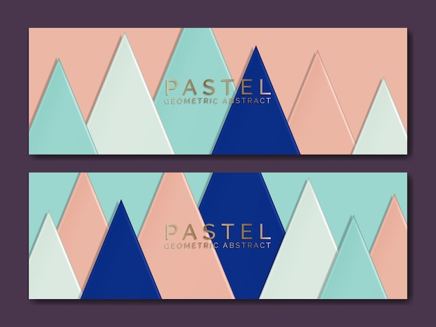 Vector paper cardboard overlapping triangles illustration for jewelry or luxury brand banner or voucher