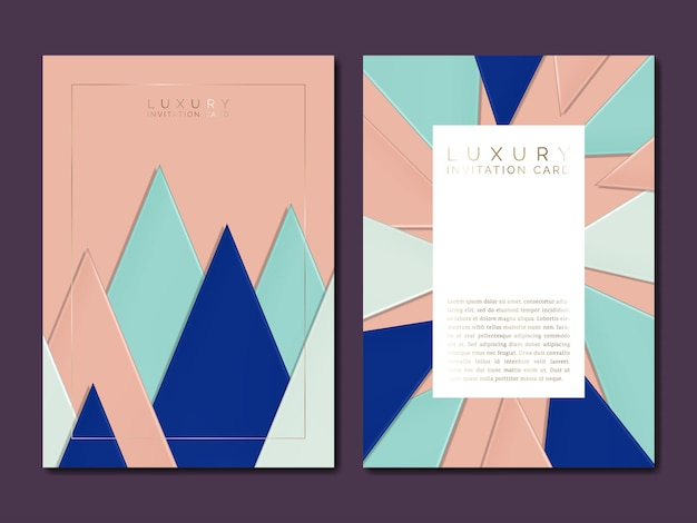 Vector paper cardboard overlapping triangles illustration for jewelry or luxury brand invitation card or poster