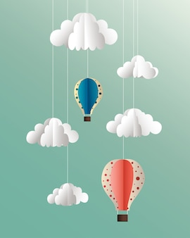 Vector paper clouds and balloons illustration