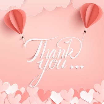 Vector paper craft style of thank you calligraphy.