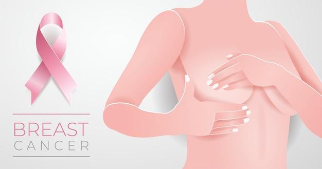 Vector paper cut breast cancer