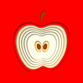 Vector paper cut red apple, cut shapes.