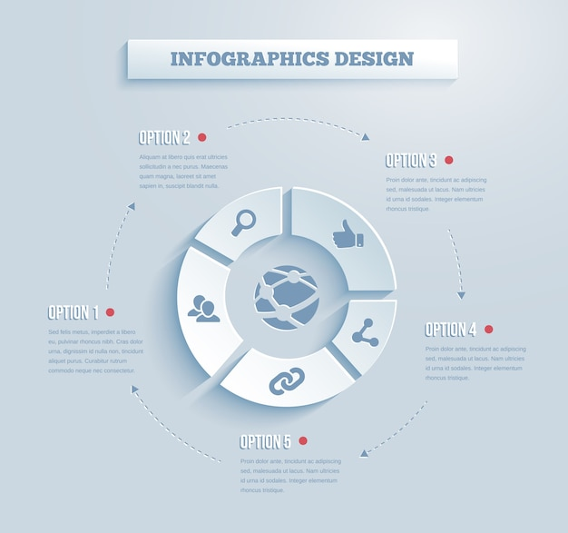 Vector paper infographics with social media and networking icons showing links