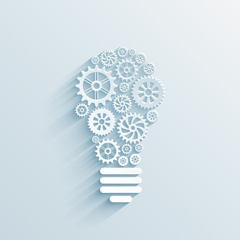 Вектор бумажная лампочка с шестернями и винтиками, концепция делового взаимодействия