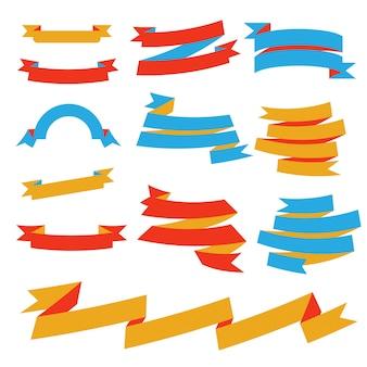 Vector paper ribbon set