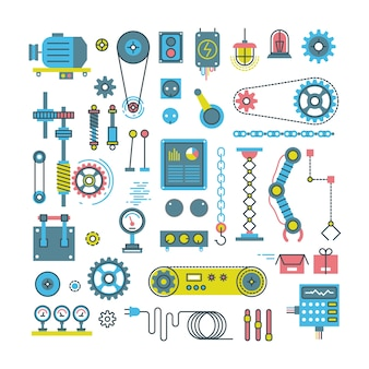 Vector parts of mechanism and robots flat icons