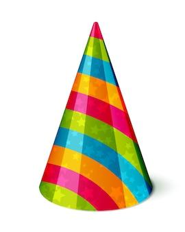 줄무늬와 흰색 별 벡터 파티 모자