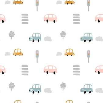 Vector pastel color doodle scandinavian cars with crosswalks and traffic lights. seamless baby boy pattern