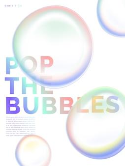 Вектор пастельные радужные пузыри, перекрывающиеся фоновой иллюстрацией для роскошного плаката ювелирных изделий