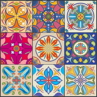Vector patchwork seamless wall tile pattern