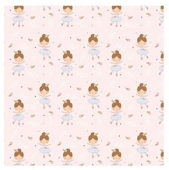 Vector pattern of ballerina on pink background