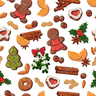 Vector pattern: christmas symbols and sweets.