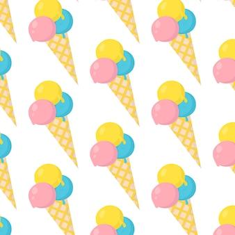 Векторный рисунок цветное мороженое в вафельном рожке векторная иллюстрация мороженое с тремя шариками
