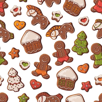 Vector pattern different kinds of christmas gingerbread.