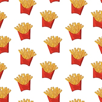 Vector pattern on the fast food theme: french fries box.