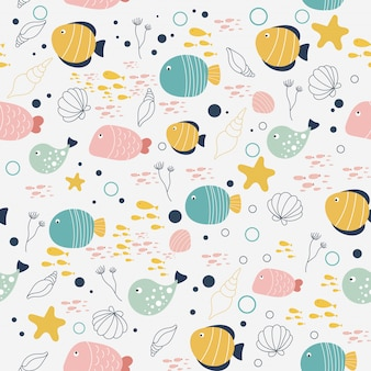 Vector pattern of fish and shellfish in the style of doodle.