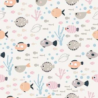 Vector pattern of fish in the style of doodle.