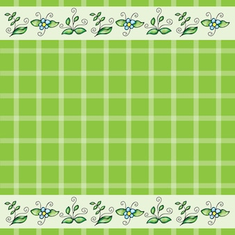 Vector pattern or frame with grass and flowers - doodling design