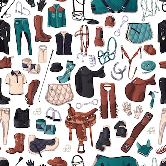 Vector pattern. illustrations on the equestrian equipment theme.
