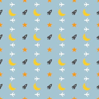Vector pattern made with rocket and moon on blue background.
