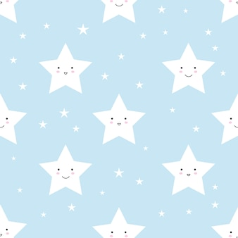 Vector pattern made with stars on blue background.