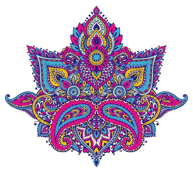 전통적인 아시아 장식품을 기반으로 한 헤나 꽃 요소의 벡터 패턴입니다. 밝은 색상의 페이즐리 멘디 문신 낙서 그림