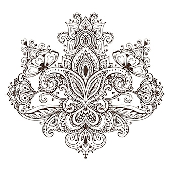 전통적인 아시아 장식품을 기반으로 한 헤나 꽃 요소의 벡터 패턴입니다. 페이즐리 멘디 문신 낙서 그림