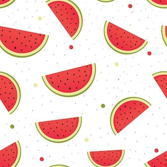 흰색 바탕에 빨간 수 박 조각 벡터 패턴 프리미엄 벡터