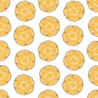 Vector pattern of pineapple in sketch style.