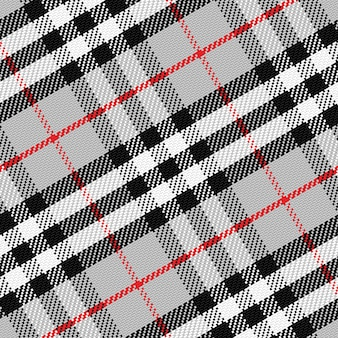 Vector pattern scottish tartan 1, black, white, gray, red