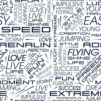 Vector pattern in the style of racing cars with the words speed, extreme, adrenaline and others.