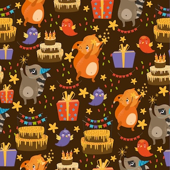 Vector pattern with animals birthday