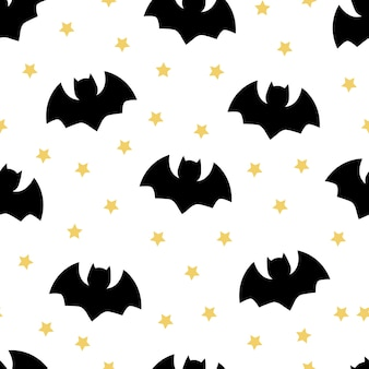 コウモリのシームレスなハロウィーンの背景とベクトルパターン