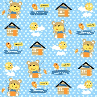 Vector pattern with bear fishing cartoon