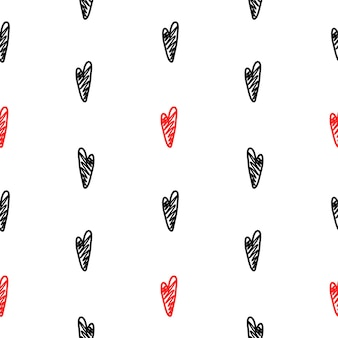 Vector pattern with black and red hearts in a handmade style on a white background