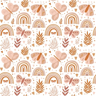 Vector pattern with butterfly rainbows in lovely style on beige background boho pattern