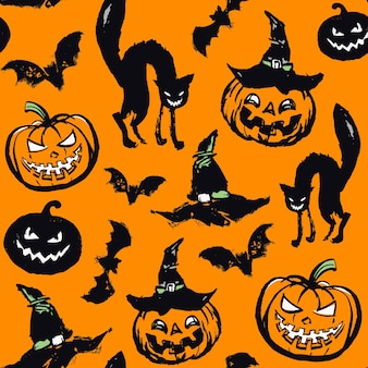 オレンジ色の背景に猫とカボチャのベクトルパターン。